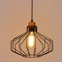 Vintage Pendant Light with 11.4''W Hexagon Cage, Black