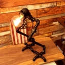 Industrial Pipe Desk Lamp with Robert Shape Lamp Base, Black/Aged Brass/Gold/Silver