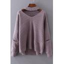 Fashion Zip Embellished Long Sleeve V Neck Plain Basic Comfort Sweater
