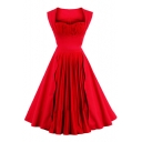 Fashion Sashes Simple Plain Square Neck Sleeveless Vintage Flared Dress