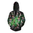 New Collection Christmas Cartoon Cat Pattern Long Sleeve Oversize Zip Up Hoodie