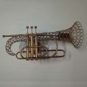 Industrial Wall Sconce with Novelty Single Light Trombone Shade in Gold