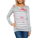 Hot Popular Floral Striped Printed Long Sleeve Round Neck Sports T-Shirt