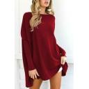 Hot Popular Round Neck Long Sleeve Basic Plain Loose Pullover T-Shirt