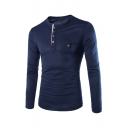 Casual Leisure Simple Plain Long Sleeve Round Neck Buttons Down Slim T-Shirt