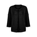 Collarless Drop Shoulder Open Front 3/4 Length Sleeve Cardigan