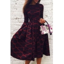 Hot Fashion Color Block Geometric Pattern Round Neck Long Sleeve Midi A-Line Dress