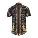 New Collection Casual Leisure Fashion Printed Lapel Collar Short Sleeve Shirt
