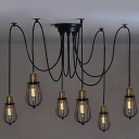 Six Light Wire Guard Swag LED Multi Light Pendant in Black