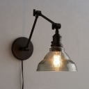 Industrial Wall Sconce Adjustable with Modern Clear Glass Shade in Black