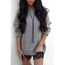 Chic Crisscross Hollow Back Round Neck Long Sleeve Plain Sweater