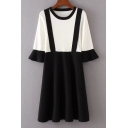 Fashion Color Block Fake Two-Piece Round Neck Long Sleeve A-Line Knit Dress
