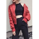 Stand-Up Collar Long Sleeve Simple Plain Zip Up Casual Bomber Jacket