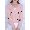 V Neck Long Sleeve Fashion Sweetheart Embroidered Buttons Down Cardigan