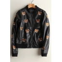 Lovely Cartoon Bear Pattern Stand-Up Collar Zip Up PU Casual Jacket