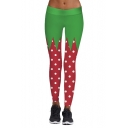 New Trendy Hot Popular Color Block Polka Dot Printed Skinny Leggings