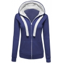 Basic Simple Plain Long Sleeve Leisure Zip Up Hoodie with Pockets