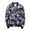 Stand-Up Collar Long Sleeve Chic Camouflage Pattern Zip Up Baseball Jacket