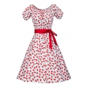 Summer's Fresh Cherry Pattern Round Neck Short Sleeve Retro Midi Flared Dress