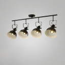 Industrial 4 Light Semi Flushmount Ceiling Light with Bowl Shade, Black/White