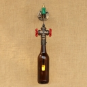 Industrial Wall Sconce Loft Tap Decorative Pipe Fixture with G4 Wine Bottle Glass Shade