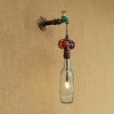 Industrial Retro Wall Sconce G4 LED with Colorful Glass Shade, Pipe Style Valve and Tap Decoration