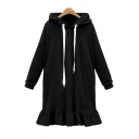Hot Fashion Simple Letter Print Long Sleeve Chic Ruffle Hem Sports Tunic Hoodie