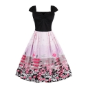 New Fashion Vintage Sleeveless Chic Floral Printed Midi Fit Flared Dress