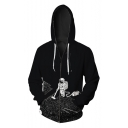 New Collection Long Sleeve Digital Astronaut Pattern Casual Zip Up Hoodie