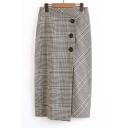 High Rise Fashion Plaids Pattern Buttons Down Midi Tube Skirt