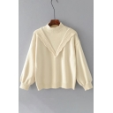 Simple Plain Mock Neck Long Sleeve Casual Comfort Pullover Sweater