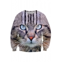 New Fashion Digital Cat Pattern Round Neck Long Sleeve Pullover Sweatshirt