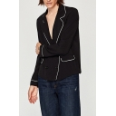 Fashion Color Block Notched Lapel Collar Long Sleeve Double Breasted Shirt