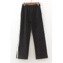 Elastic Waist Fashion Striped Print Side Loose Casual Sports Wide Legs Pants