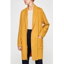 Basic Plain Lapel Collar Long Sleeve Tunic Trench Coat with Double Pockets