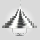 Industrial Indoor Pendant Light Extendable in Silver Ribbed Shape