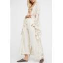 Hot Fashion Chic Lace Inserted Long Sleeve Holiday Tunic Swimwear Cardigan