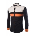 Stand-Up Collar Long Sleeve Fashion Color Block Slim Buttons Down Shirt
