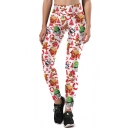 Casual Sports Digital Christmas Pattern Elastic Waist Skinny Leggings