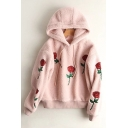 Retro Floral Embroidered Long Sleeve Casual Loose Leisure Hoodie