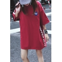 Street Style Simple Letter Pattern Loose Casual Round Neck T-Shirt
