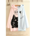 Casual Loose Stylish Color Block Cartoon Cat Pattern Long Sleeve Hoodie
