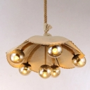 Industrial Vintage Chandelier Fabric Fixture Rope Hanging Cord with Glass Shade