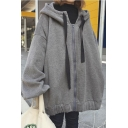 Winter's Loose Oversize Chic Letter Printed Back Long Sleeve Hoodie for Couple