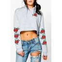 New Trendy Fashion Rose Embroidered Long Sleeve Loose Cropped Hoodie