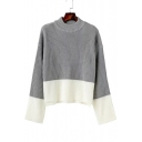 Basic Mock Neck Long Sleeve Fashion Color Block Pullover Sweater