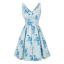 Vintage Floral Pattern V Neck Sleeveless Elegant Midi Fit Flare Dress