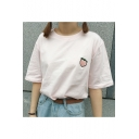 Lovely Fruits Embroidered Short Sleeve Round Neck Loose Pullover T-Shirt