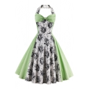 Vintage Color Block Floral Pattern Halter Neck Open Back Midi Flared Dress