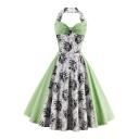 Vintage Color Block Floral Pattern Halter Neck Open Back Midi Flared Dress
